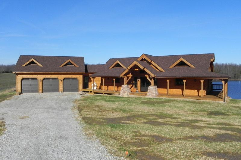 Countrymark log homes prairie ranch for Ranch house with garage