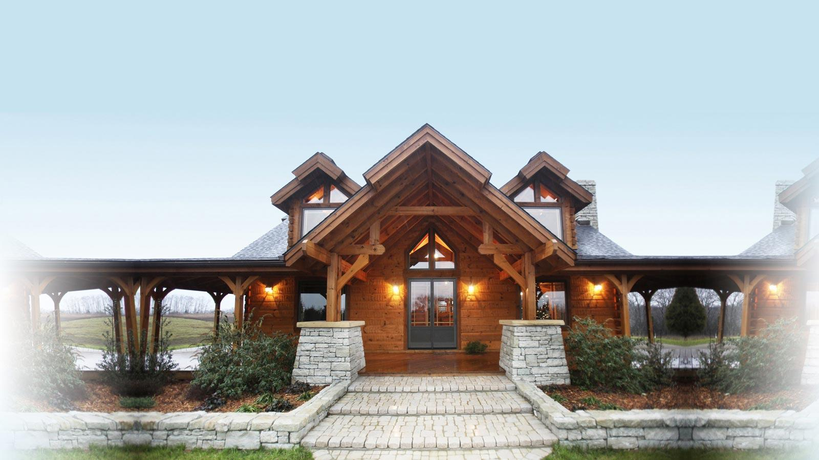 Countrymark log homes countrymark energy efficient for Timber frame hybrid house plans